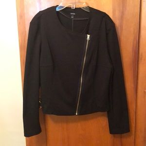 Black blazer with gold zipper detail